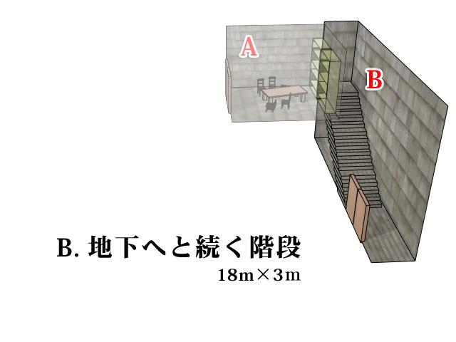 C.地下へと続く階段
